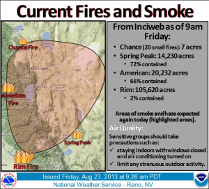 An out of control wildfire near Yosemite National Park covered much of the inhabited part of Mineral County in a veil of smoke today.