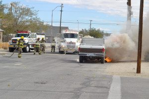 A pickup truck owned by a Hawthorne construction contractor was destroyed Oct. 3 when it caught fire.