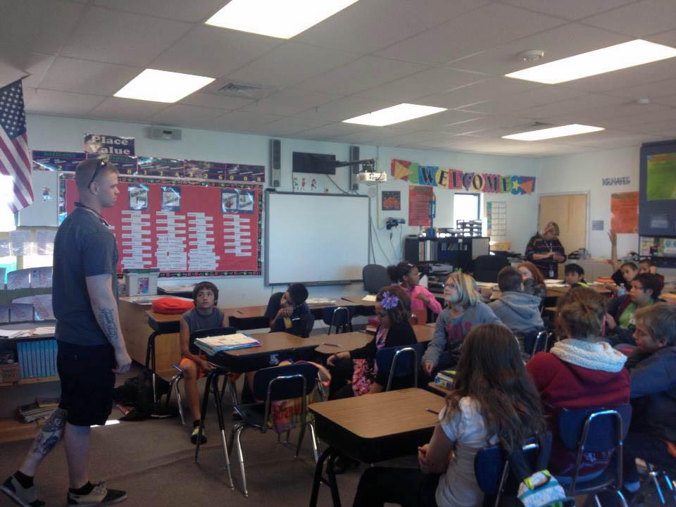 Soldier addresses elementary school