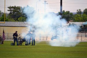 Cannons flashed and roared amid sporadic musket fire as the Nevada Civil War Volunteers staged two exciting battles at the Mineral County High School football