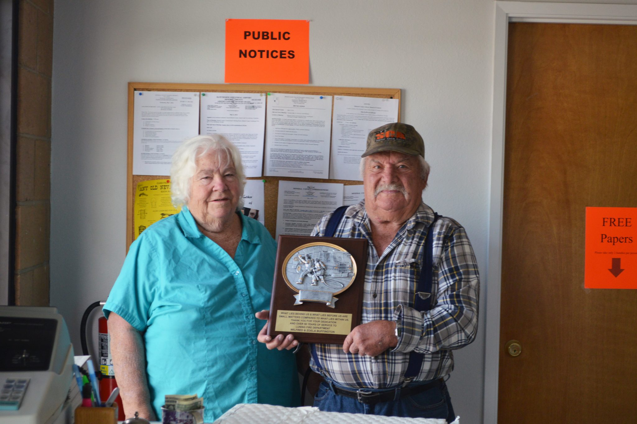 Luning couple honored with service plaque