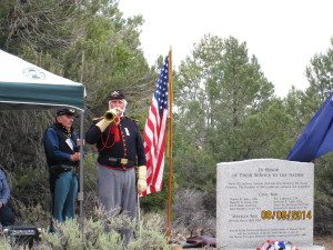 A crowd of 60-70 people gathered at the Aurora cemetery on Aug. 9 for the dedication of a monument honoring 10 military veterans buried at the
