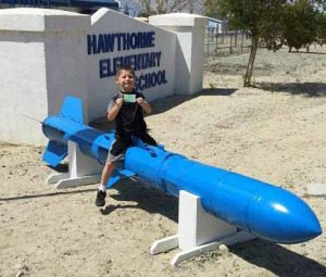 On Sept. 19 an inert Anti-Submarine Rocket with a dummy nuclear warhead was placed at the entrance of the Hawthorne Elementary School.