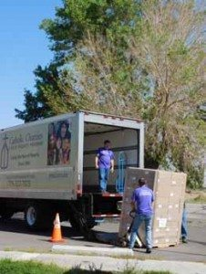 Sheri Samson The Catholic Charities organization delivers food to the former JPO building last week.