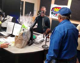 Courtesy photo Pepper's Place' Chris Hegg promoted the businesses special Hogg Sauce on Reno's 103.7 The River recently.