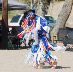 Heidi Bunch A member of the Walker River Paiute Tribe performs a traditional dance at the Pinenut Festival in Schurz on Saturday. More photos on page 2.