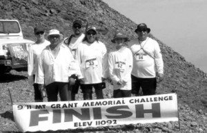Courtesy photo The Lopez family take a memorable photograph at the 11,239 foot finish line of the Mt. Grant 9/11 Memorial Challenge.