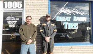 Sheri Samson Owner Tracy Larramendy and staff member Jared Keuhey stand in front of the Great Basin Tire.