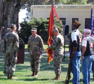 Heidi Bunch photos Lt. Col. Scott M. Bishop (second from left) assumed command of the Hawthorne Army Depot last Thursday at a Change of Command ceremony on the base. Bishop takes over for Lt. Col. Gregory Gibbons (left) who had been in command the last two years.