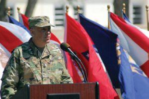 Lt. Col. Bishop addresses the crowd in attendance.