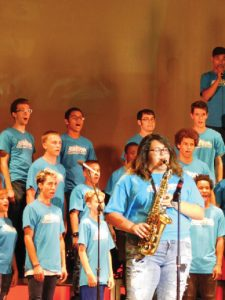 Courtesy photo -  Hawthorne's Caitlyn Rogers performs a saxophone solo at the Young Americans workshop in Southern California.