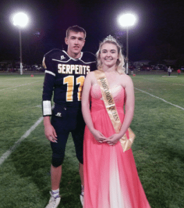 Kim Richmond - Jordi Medlock and Brandon West were crowned MCHS Homecoming King and Queen Friday night during halftime of the Serpents football game.