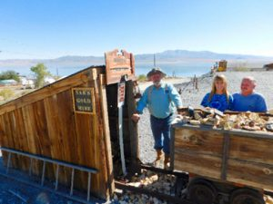 Sheri Samson - Pete and Nan Ferlisi have a custom made rendition of a gold mine in front of their Walker Lake home.