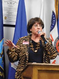 Sheri Samson - Board of Regents candidate Carol Del Carlo spoke at tahe VFW candidate night last week.