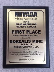 Borealis Mine Earns Safety Award