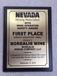 Borealis Mine Earns Safety Award