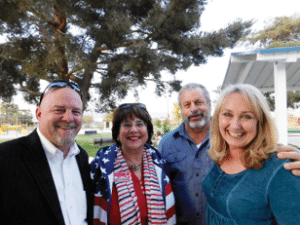 Sheri Samson - From left, Nevada candidates Assemblyman Ira Hansen and Carol Del Carlo spoke with local residents at a meet and greet at Lions Park. They are shown with Mineral County Republican Chairpersons Mark and Cindy Nixon.