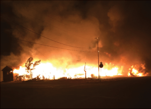 Authorities are still trying to determine what caused the blaze that lit up the night sky Oct. 26.