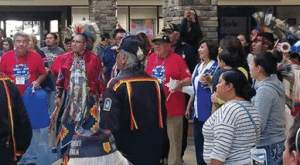 Courtesy photo Members of the first Native American Honor Flight join in the round dance at the Reno-Tahoe International Airport.