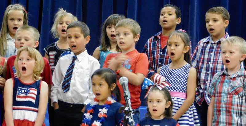 Hawthorne Elementary School students hold patriotic concert